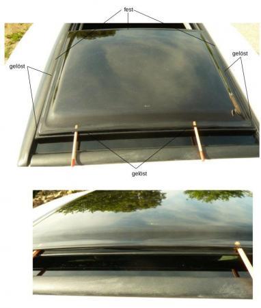 glas mit acrylglas kleben acrylglaskuppel auf autoschiebedach. Black Bedroom Furniture Sets. Home Design Ideas