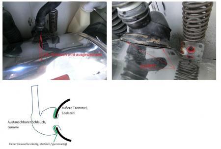 gummi schlauch an waschmaschine mit verchromten stahl. Black Bedroom Furniture Sets. Home Design Ideas