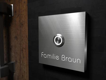 edelstahlplatte mit stein klinker im au enbereich kleben klingelbrett. Black Bedroom Furniture Sets. Home Design Ideas