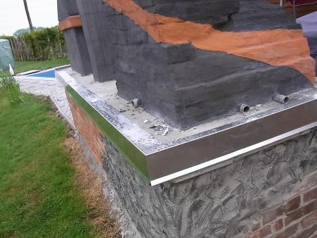 aluminiumblech ortblech 10 cm breit mit fliesen aussen. Black Bedroom Furniture Sets. Home Design Ideas
