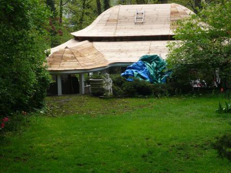 styrodurplatte 20mm mit lackiertes holz kleben vollholzschalung dach von innen zwischen den. Black Bedroom Furniture Sets. Home Design Ideas