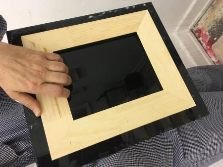 acrylglas plexiglas gs mit holz kleben bildtr ger malerei. Black Bedroom Furniture Sets. Home Design Ideas
